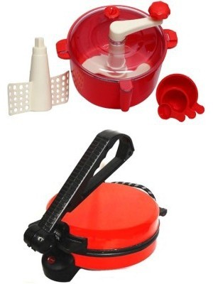 ECO SHOPEE COMBO OF RED ROTIMAKER WITH RED DOUGH MAKER Roti/Khakhra Maker(Red)