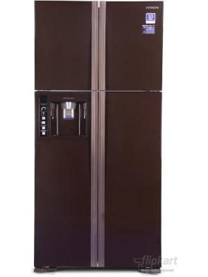 Hitachi 586 L Frost Free Side by Side Refrigerator(R-W660PND3, Glass Brown)