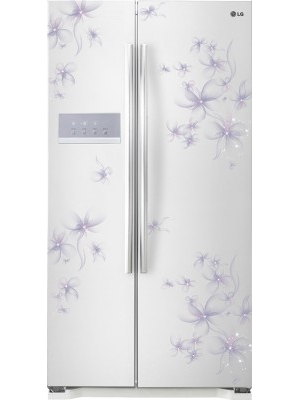 LG 581 L Frost Free Side by Side Refrigerator(GCB 207 GPQV, Bouquet White)
