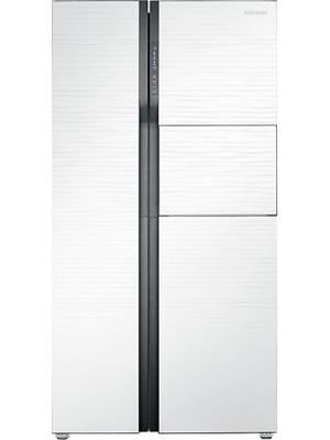 SAMSUNG 591 L Frost Free Side by Side Refrigerator(RS554NRUA1J, White Shiny River Glass)