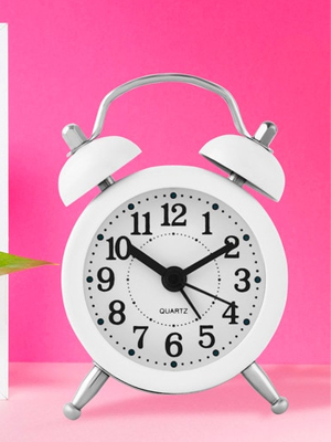 White Metal Twin Bell Alarm Clock By Archies