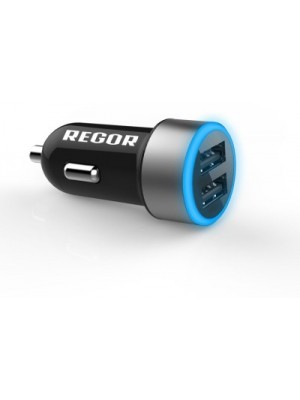 Regor 2.4 amp Turbo Car Charger(Black)