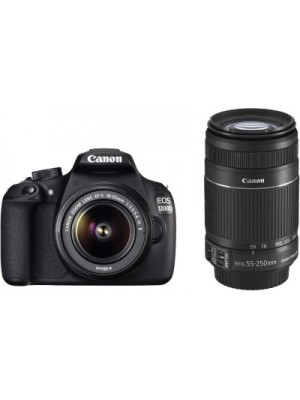 Canon EOS 1200D DSLR Camera (Body with 8 GB Card & Bag EF S18-55 IS II+55-250mm IS II)(Black)