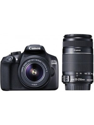 Canon EOS 1300D DSLR Camera (Body with EF-S 18 - 55 mm IS II + EF-S 55 - 250 mm F4 5.6 IS II)(Black)