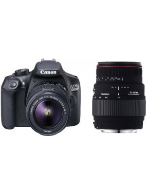 Canon EOS 1300D EF S18-55 IS II DSLR Camera With Sigma 70 - 300 mm F4-5.6 DG Macro for Canon Digital