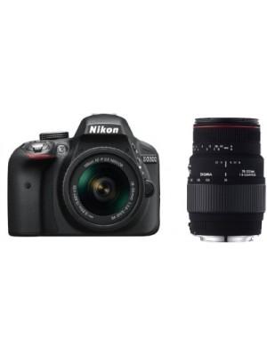 Nikon D3300 18 55 AF-P VR DSLR Camera With Sigma 70 - 300 mm F4-5.6 DG Macro for Nikon Digital SLR L