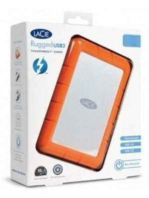 LaCie Rugged USB 3.0 Thunderbolt 1 TB External Hard Disk Drive(Silver, Orange)