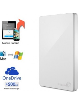 Seagate Backup Plus Slim 1 TB Wired External Hard Disk Drive(White, Mobile Backup Enabled)
