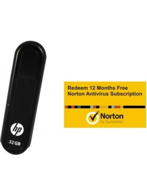 HP V100 W 32 GB Pendrive with FREE Norton Anti-virus 12 Month Subscription (1 PC 1 Year)(Black)
